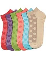 HS Woman Fashion Design Socks 6-pairs 6-colors