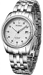 BUREI Men's Date Stainless Steel Dress Automatic Watch with Silver Band