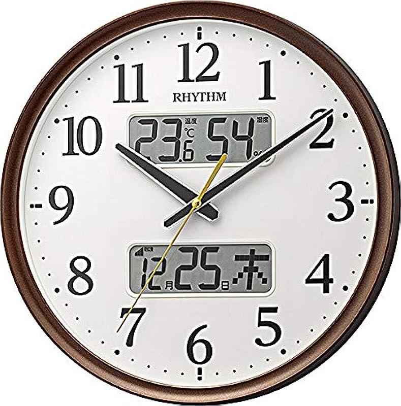 리듬 시계 공업(Rhythm) 벽시계백Φ35x5.3cm 전파 아날로그 연속 초침 온도 습도 캘린더 8FYA03SR03