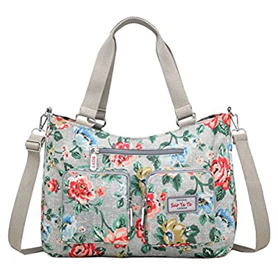 EasyHui Nylon Messenger Bag Crossbody Shoulder Bag Women Girls Flower Print Large Capacity Travel Bag