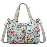 EasyHui Nylon Messenger Bag Crossbody Shoulder Bag Women Girls Flower Print Large Capacity Travel Bag Rose Flower