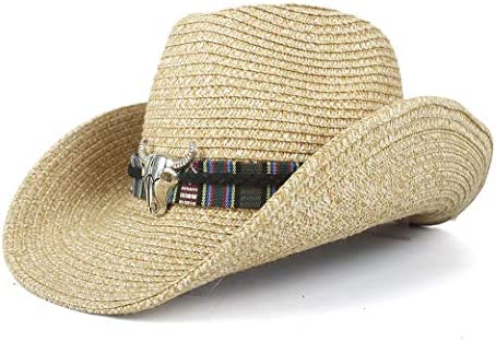 夏のファッションレトロ女性メンズワイドブリムストローサンビーチカウボーイウエスタンハットアウトブルヘッドレザーバンドサンハット ビーチ帽子 (色 : カーキ, サイズ : 56-58)