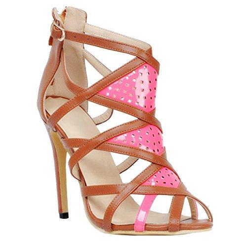 Kolnoo Damen Faschion 11cm Absatz Schuhe römische Weinlese Ausschnitt Stilett Partei Abschlussball Sandelholze Brown