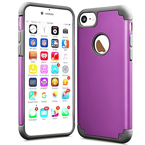Compatible with iPhone 7 2016/iPhone 8 2017 Case,Slim Fit Anti-Scratch Protective Heavy Duty Dual Layer PC Rugged Shockproof Bumper Case Non-Slip Grip Protection Cover-Dark Purple (Case Mate Barely There Case Iphone 6)