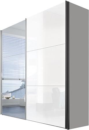 Solutions 45320 – 203 – Armario de Puertas correderas (2 Puertas, Listones de Mango Aluminio Colores, Cuerpo Polar Blanco/Lacado Blanco y Espejo Frontal: Amazon.es: Hogar