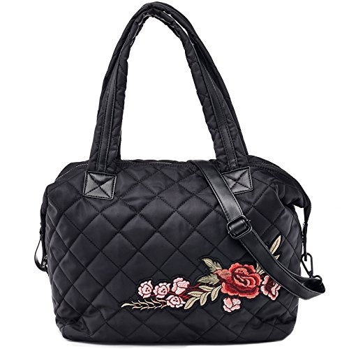 Dream Control Floral Emb Quilted Nylon Tote Shopping Shopper Shoulder Bag Black by Dream Control