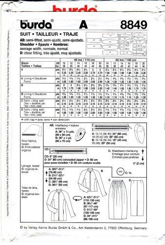 Amazon.com: Burda Sewing Pattern 8849 Mises Sizes 10-20 Suit ...