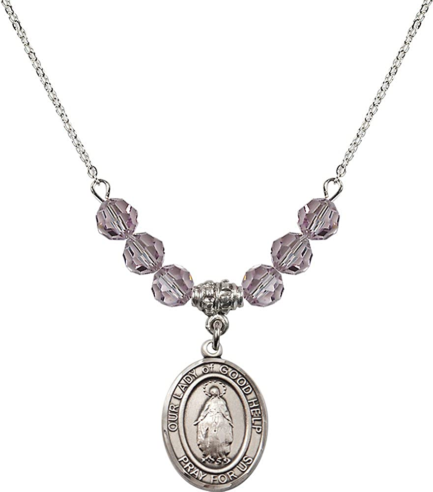 18-Inch Rhodium Plated Necklace with 6mm Light Amethyst Birthstone Beads and Sterling Silver Our Lady of Good Help Charm.
