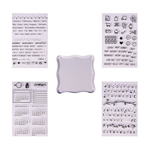 s Clear Silicone Stamps Alphabet Calendar Symbol Stamp Seal Set with Square Acrylic Block Pad for Cards Making DIY Scrapbooking Photo ()
