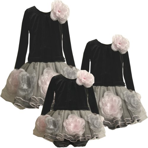 Bonnie Jean Baby-Girls Infant 12M-24M Velvet Mock Jacket to Tier Tulle Dress