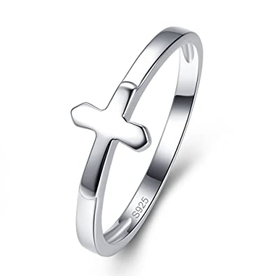 df9ca38fc AVECON Women's Solid 925 Sterling Silver Anniversary Wedding Ring Stackable  Sideways Cross Ring Size 6