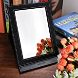 amoore Makeup Mirror Vanity Mirror Folding Tabletop Mirror with PU Leather Cushioned Cover (large, black)