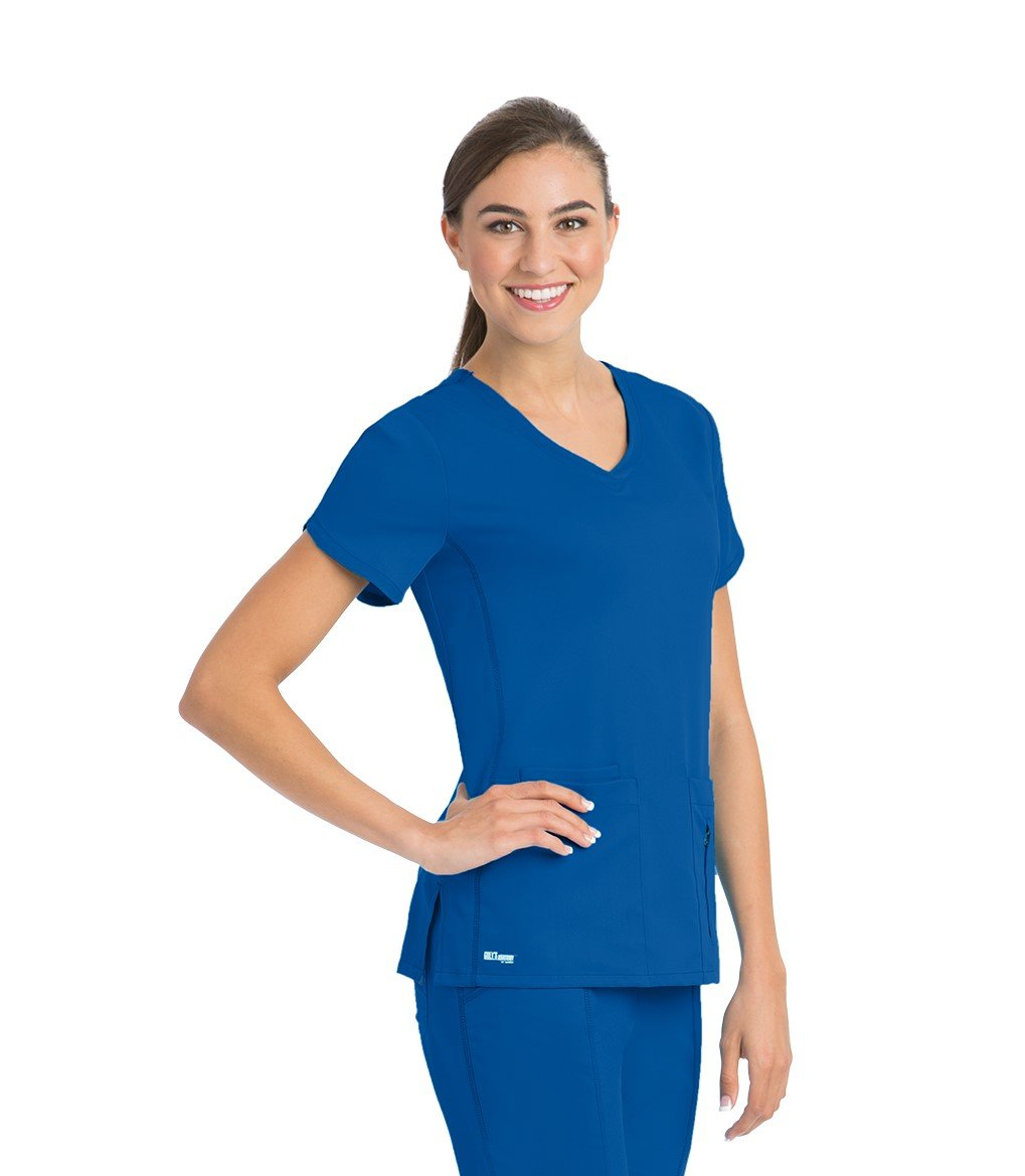 Grey's Anatomy Active Women's 41423 4 Pocket Knit Side Panel V-Neck Scrub Top- New Royal- 3X-Large
