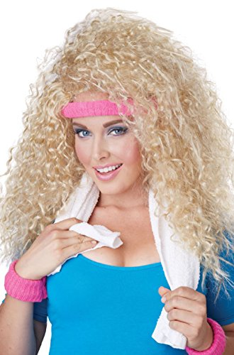 1980s Workout Exercise Let's Get Physical Curly Hair Costume Wig (Blonde) (80s Hair Wig)