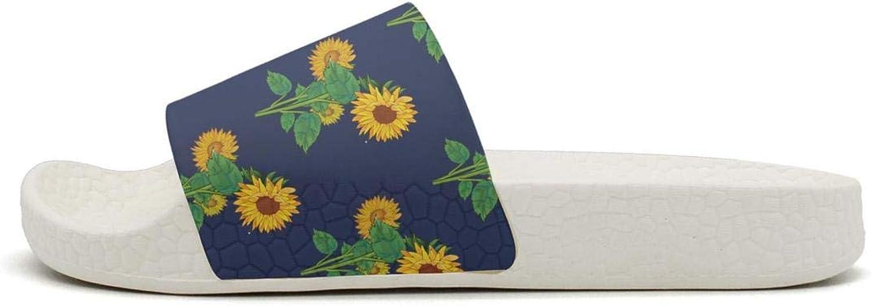 Daalgggg Mens Slipper Sunflower Dark Blue Comfort Lightweighted Open Toe Flat Interior Slides Shoes