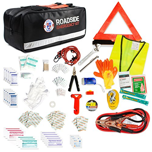 Always Prepared 149-Piece Roadside Assistance Auto Car Emergency Kit with Jumper Cables, First Aid Kit Items w/Medicine, and Critical Survival Items ()