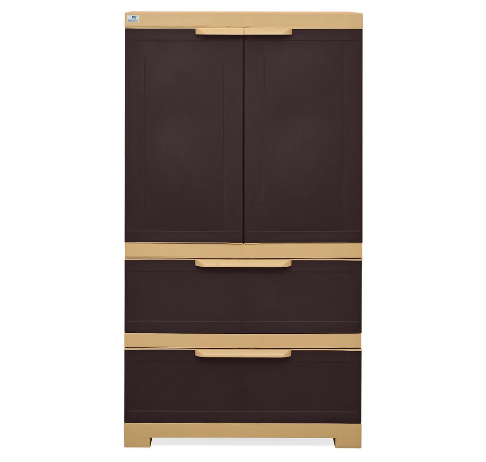 @home By Nilkamal Freedom Cabinet With 2 Drawers (Weather Brown And Biscuit) Part 44