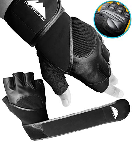 Gym Gloves, Workout Gloves - Real Wrist Support and Full Palm Protection - Removal Tags, Grip Pads, 18 Inch Wrist Support and Lifting Strap. Exercise Gloves for Weight Lifting, Power Lifting, CrossFit