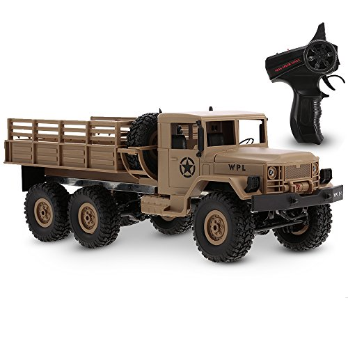 (Goolsky WPL B-16 1/16 2.4G 2CH 6WD Military Truck RC Off-road Crawler Army Car Electric Vehicle with Light RTR Children Gift Kids Toy)