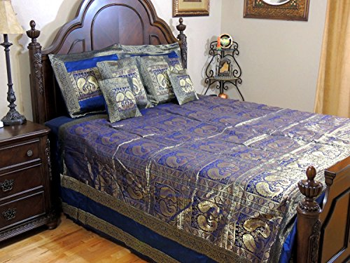 NovaHaat Navy Blue and Gold Zari Silk Blend Brocade Quilted Designer Indian Sari Bedspread Duvet Cover Set with Dancing Peacock Pair Pattern and Pillow Covers from Varanasi ~ King Size