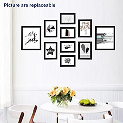 "SONGMICS Picture Frames Set of 10 Frames with Glass Front - Two 8"" x 10"" in, Four 5"" x 7"" in, Four 4"" x 6"" in, Collage Photo Frames Wood Grain Black URPF10B"