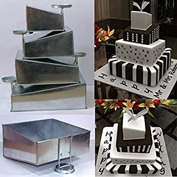 Euro Tins Multi Layer Cake Pans Mini Topsy Turvy Square 4 Tier Wedding Cake  Pan
