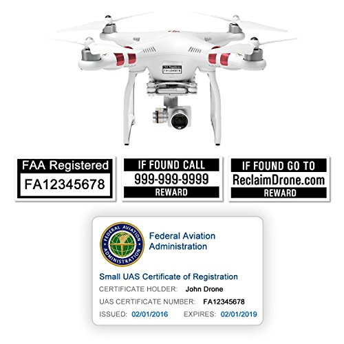 FAA Drone Labels (2 Sets of 3) + FAA UAS Registration ID Card for Hobbyist Pilots (Best Rewards Credit Card 2019)