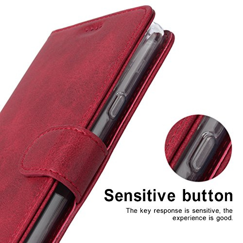 LG G7 Case/LG G7 ThinQ Case, Cress [Slim Fit] [Stand Feature] Flip Leather Wallet Case With Card Slot Magnetic Closure Bumper TPU For LG G7 (Red) by Cresee (Image #4)