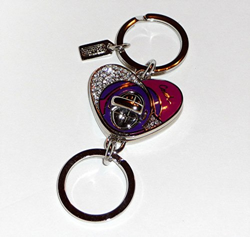 Purse Enameled Pink (Coach Turnlock Valet Enameled and Pave Crystal Heart Keyring / Key Fob / Purse Charms Style 92961)