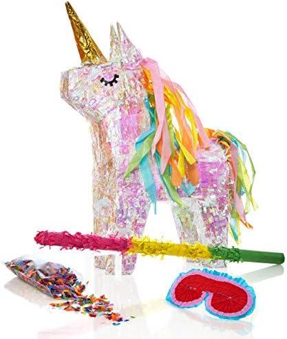 Palo Aprox 50 cm Lumaland Set de pi/ñata para Rellenar 50 gr de confetiEinhorn Unicornio m/ágico ca Careta 40x14x54 cm