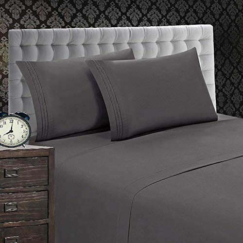 Elegant Comfort 4 Piece 1500 Thread Count Luxurious Silky Soft Egyptian Quality Coziest Sheet Set, Queen, Charcoal Gray