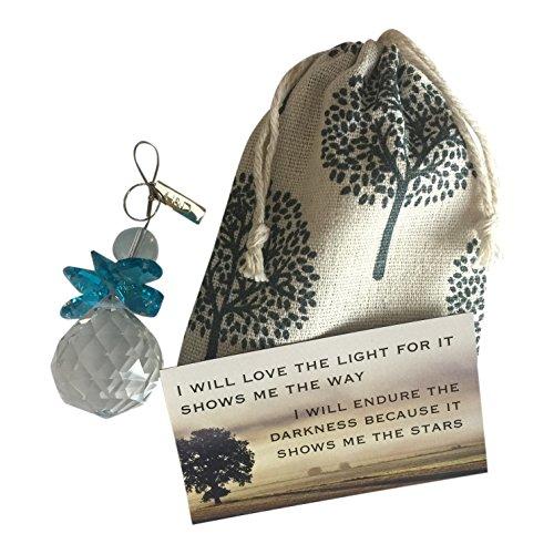 Harper Olivia Thinking You~Glass Sun Catcher Gift Bag Magnet Blue Angel