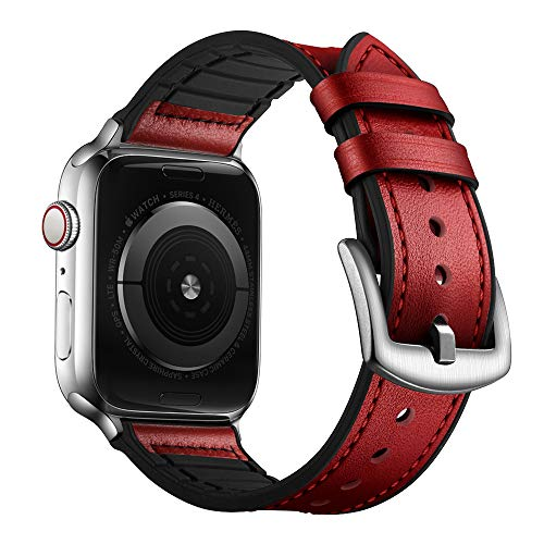 OUHENG Compatible with Apple Watch Band 42mm 44mm, Sweatproof Genuine Leather and Rubber Hybrid Band Strap Compatible with iWatch Series 5 Series 4 Series 3 Series 2 Series 1, Red (Leather Watch Band Red)