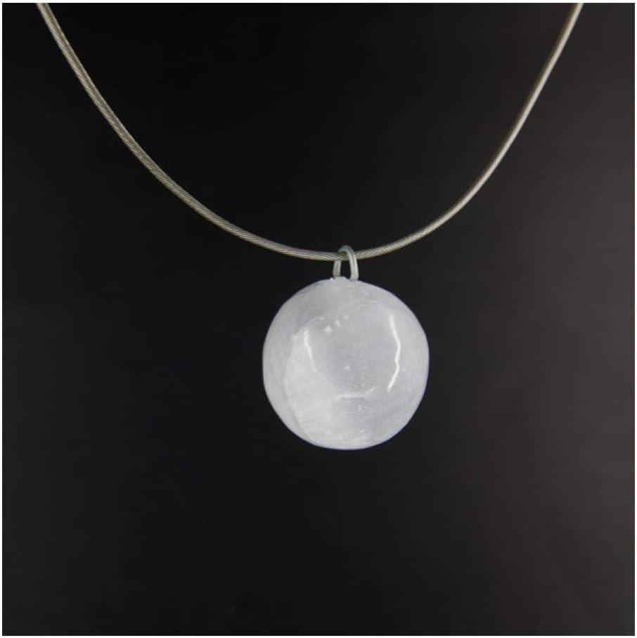 Colgante Selenita Esfera Minerales y Cristales, Belleza energética, Meditacion, Amuletos Espirituales
