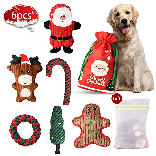 BELLABAILEY Holiday Squeaky Toys, Christmas Dog Toys 6 Pack, Rope Toys and Squeaky Toys Set, Plush Toy Santa, Reindeer…