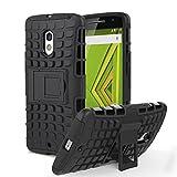 Motorola Moto X Play / DROID Maxx 2 Case, MoKo Heavy Duty Rugged Dual Layer Armor with Kickstand Protective Case for Motorola Droid Maxx 2 / Moto X Play - Black