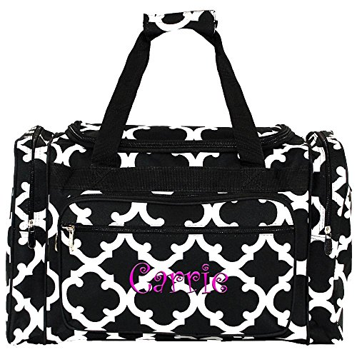 "Monogrammed Black Geometric Overnight Duffle Bag 20"""