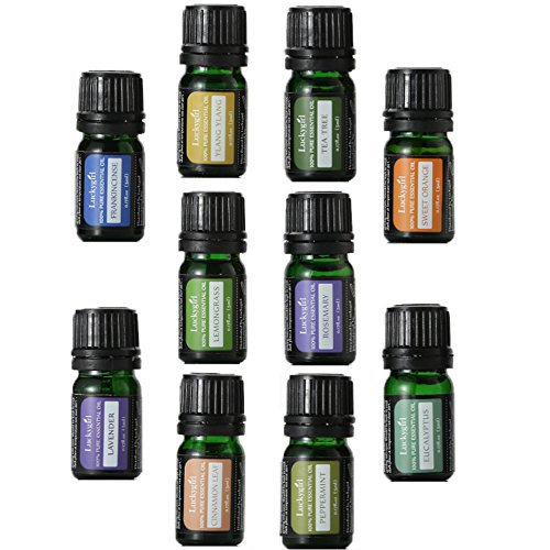 Workstation Set Wide (Luckygirl Essential Oils Set, Top 10 100 Pure Aromatherapy Essential Oil Kit, 10 x 5 ml (Lavender, Sweet Orange, Peppermint, Tea Tree, Eucalyptus, Lemongrass, Bergamot, Frankincense etc.) …)