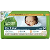 Seventh Generation Free and Clear Sensitive Skin Baby Diapers with Animal Prints, Size Newborn, 36 Count (Pack of 4)