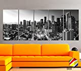 Original by BoxColors XLARGE 30''x 70'' 5 Panels 30''x14'' Ea Art Canvas Print Houston Texas skyline Black & white Wall Home decor ( framed 1.5'' depth)