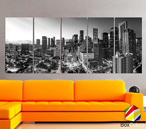 Original by BoxColors XLARGE 30''x 70'' 5 Panels 30''x14'' Ea Art Canvas Print Houston Texas skyline Black & white Wall Home decor ( framed 1.5'' depth) by BoxColors