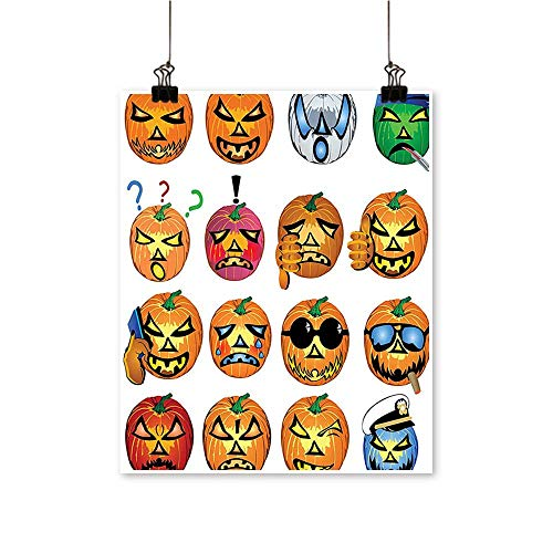 (On Canvas Prints Carved Pumpkin with Emoji Faces Halloween Humor Hipster Monsters Harvest Graphic Art Orang Paintings for Wall Decor,28