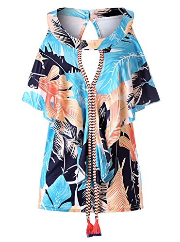 Rotondo Camicie Canotte Moda Sottile Donna Blu Bluse Maglietta Casual Senza Cavo Collo Blouse Tops Stampa Estivo Maniche qxRIfq