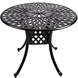 Cast Aluminum Bistro Dining Table Round, Outdoor Cast Aluminum Patio Furniture Sets for Bistro Garden Bronze