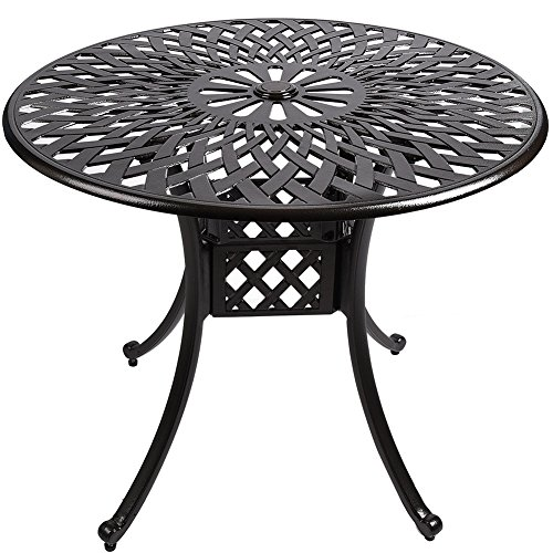 Elecwish Outdoor Bistro Dining Table - Cast Aluminum Patio Furniture Sets for Bistro Garden (Cast Aluminum Patio Dining Sets)