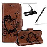 Herzzer PU Leather Case for Galaxy J3 2018,Strap Magnetic Wallet Folio Cover for Galaxy J3 2018, Elegant Slim Brown [Love Hearts Flower Embossed] Stand Phone Case