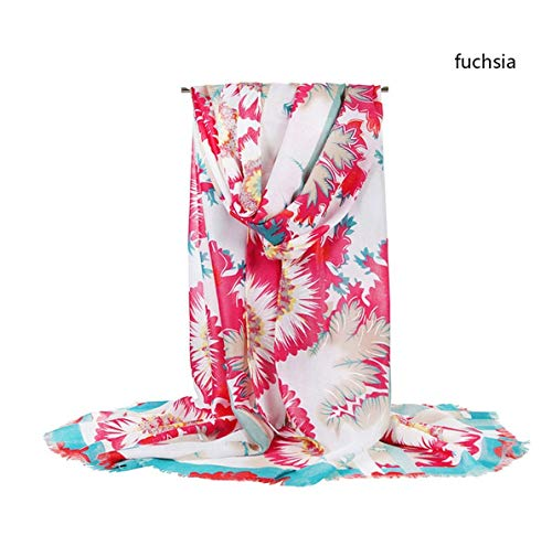 MATERIALAL Summer Women Scarf Femme Flower Printing Lurex Hijab Scarf Beach Scarf Silk Scarves Wraps,Fushia ()