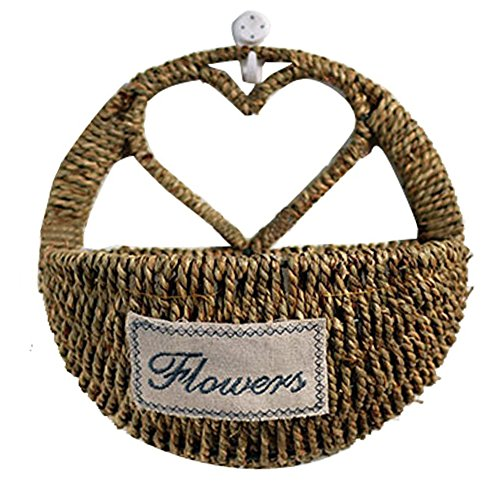 Finebaby Decorative Woven Willow Storage Basket Wall Hanging Vine Basket Countryside Primitive Vintage Style Plant Vase for Home/Cafe/Restaurant Decoration (Hearts Wicker Wholesale)
