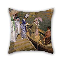 Oil Painting E Phillips Fox - The Ferry Pillow Covers Best For Car Seat Birthday Festival Office Sofa Adults 16 X 16 Inches / 40 By 40 Cm(double Sides)