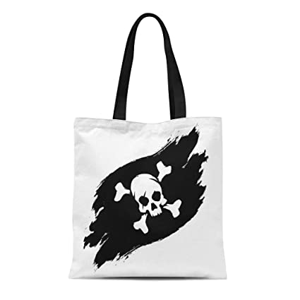 ceabc2b83da2 Amazon.com: Semtomn Canvas Tote Bag Shoulder Bags Bone Black Jolly ...
